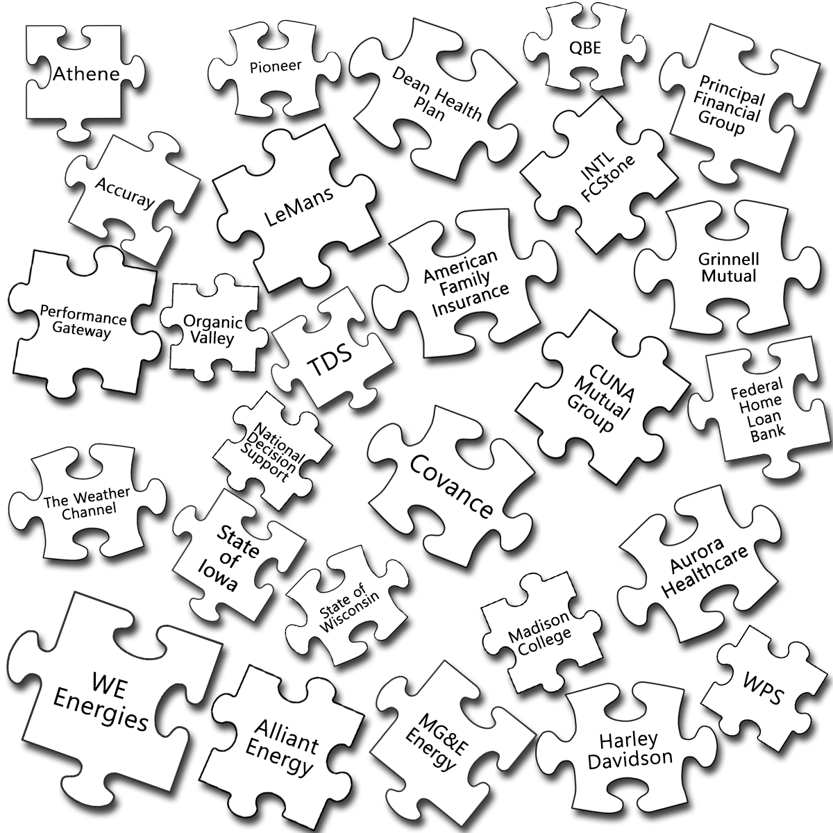 Puzzle Pieces with Client Names 2017